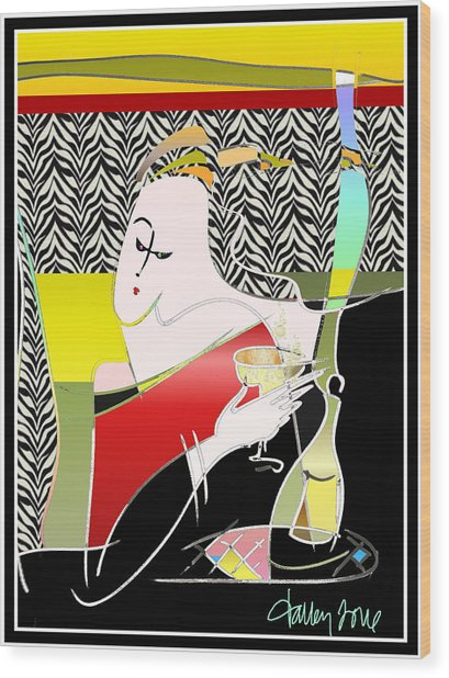 Champagne For One At The Zebra Lounge Wood Print