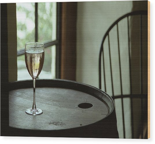 Champagne Glass Wood Print by Barry Shaffer