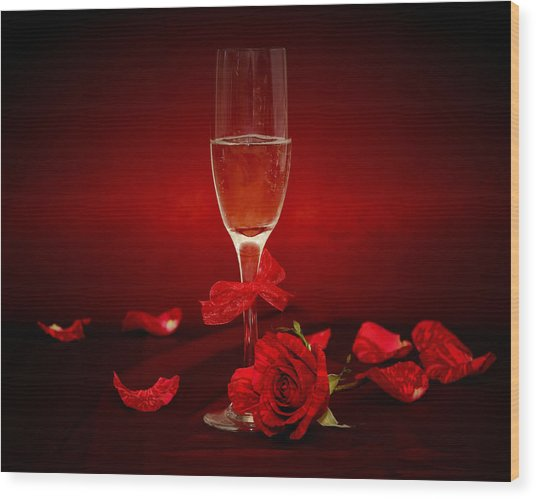 Champagne Glass With Red Roses And Petals Wood Print