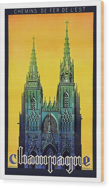 Champagne, Reims, Cathedral, France Wood Print