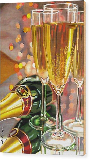 Champagne Wishes Wood Print