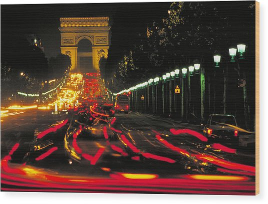 Champs Elysee In Paris Wood Print by Carl Purcell