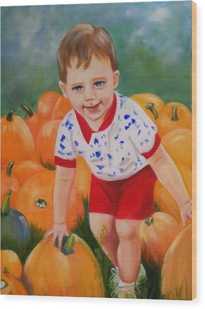 Chance With The Pumpkins Wood Print by Joni McPherson