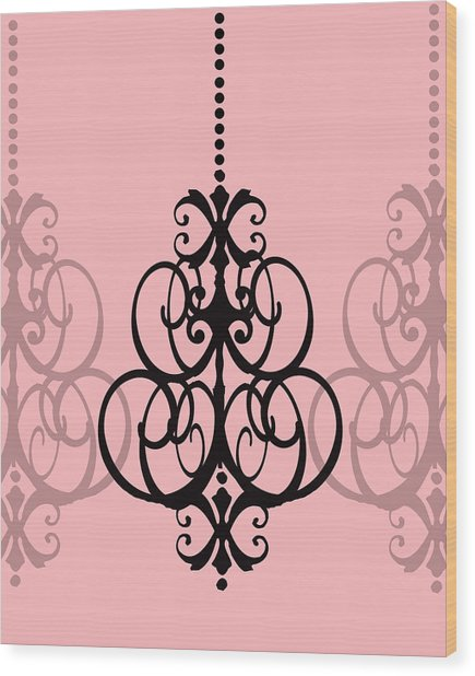 Chandelier Delight 1- Pink Background Wood Print