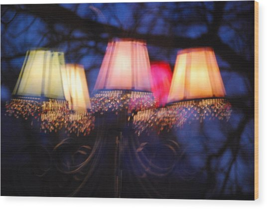Chandelier In The Trees Wood Print by Peter  McIntosh