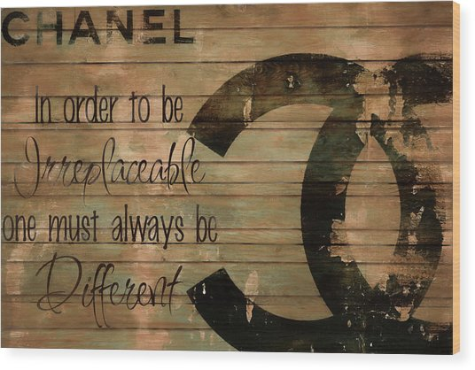 Chanel Wood Panel Rustic Quote Wood Print