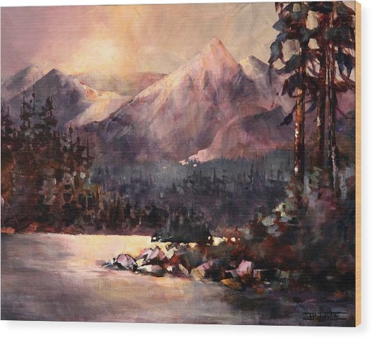 Changing Light On The Bulkley River Wood Print