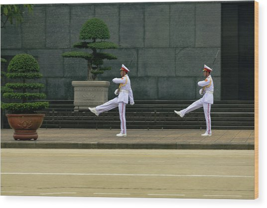 Changing Of Guard At Ho Chi Minh Mausoleum Wood Print