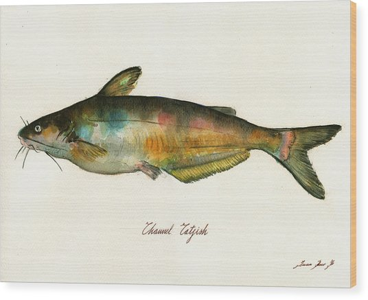 Channel Catfish Fish Animal Watercolor Painting Wood Print