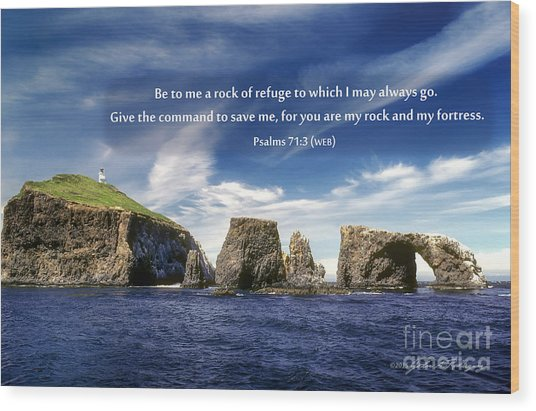 Channel Island National Park - Anacapa Island Arch With Bible Verse Wood Print