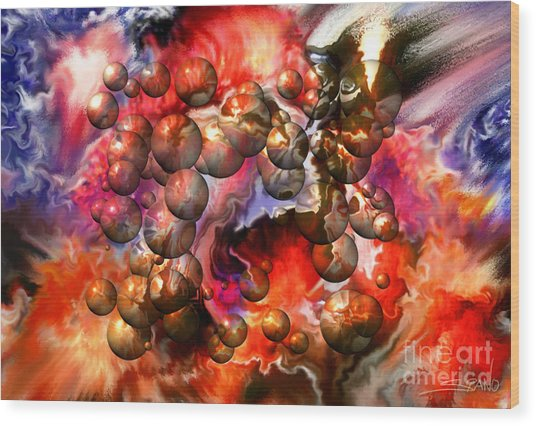 Chaos Spheres By Spano Wood Print by Michael Spano