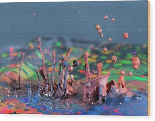 Chaotic Paint Wood Print