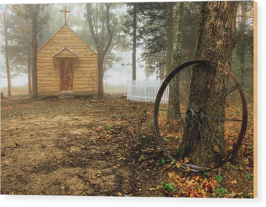 Chapel In The Woods 1 Wood Print