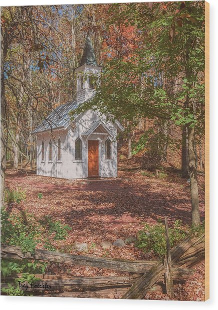 Chapel In Woods At Red Mill 3 Wood Print