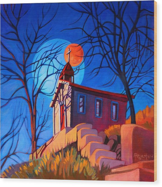 Chapel On The Hill Wood Print