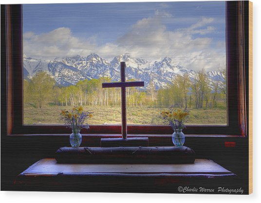 Chapel With A View Wood Print