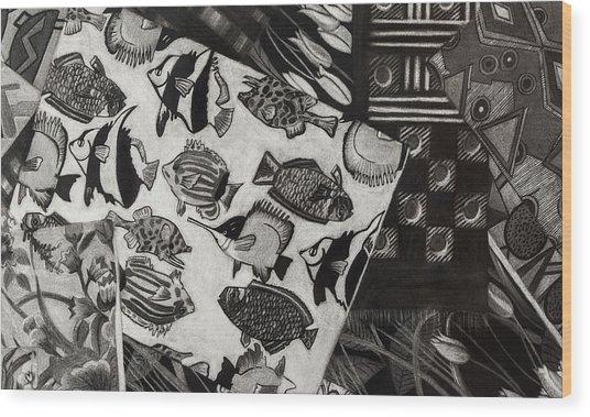 Charcoal Chaos Wood Print