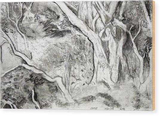 Charcoal Copse Wood Print