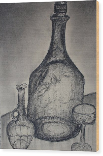 Charcoal  Glass Wood Print by Emily Ruth Thompson