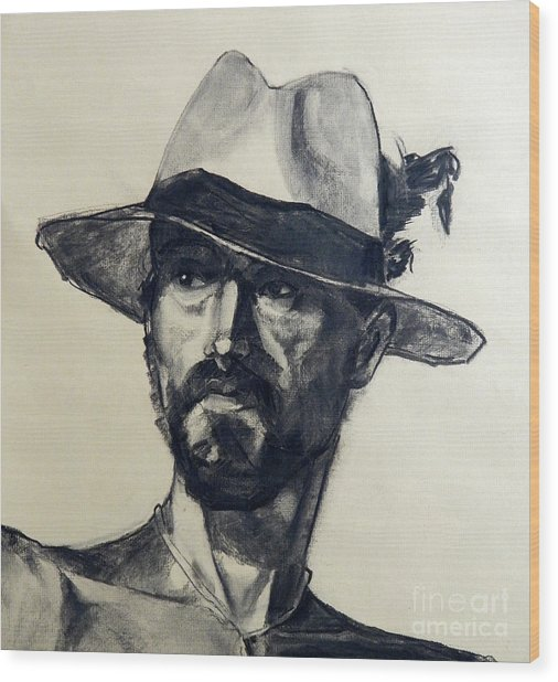 Charcoal Portrait Of A Man Wearing A Summer Hat Wood Print
