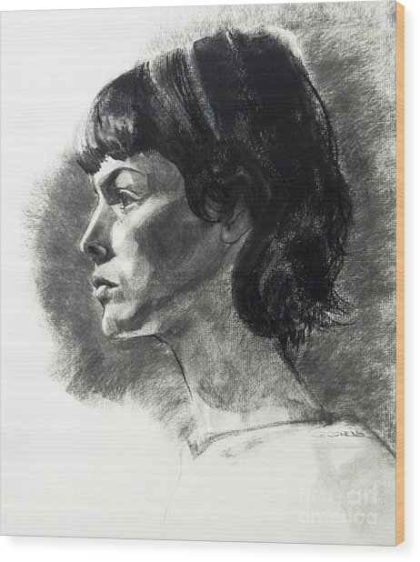 Charcoal Portrait Of A Pensive Young Woman In Profile Wood Print
