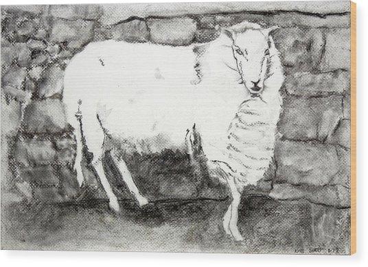Charcoal Sheep Wood Print
