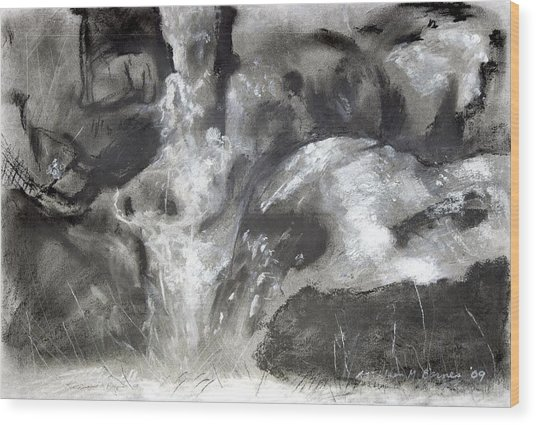 Charcoal Waterfall Wood Print