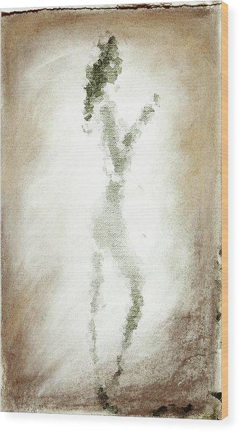 Charcoal Woman Wood Print
