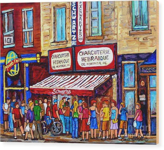 Charcuterie Hebraique Schwartz Line Up Waiting For Smoked Meat Montreal Paintings Carole Spandau     Wood Print