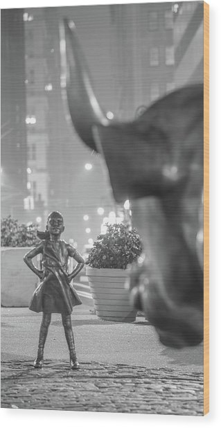 Charging Bull And Fearless Girl Nyc  Wood Print