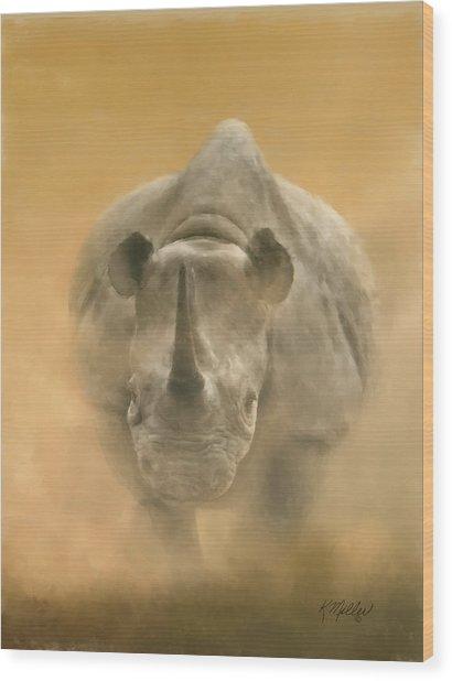 Charging Rhino Wood Print