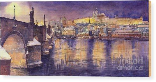 Charles Bridge And Prague Castle With The Vltava River Wood Print