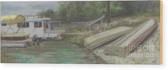 Charles Mill Lake - Boats Wood Print by Terri  Meyer