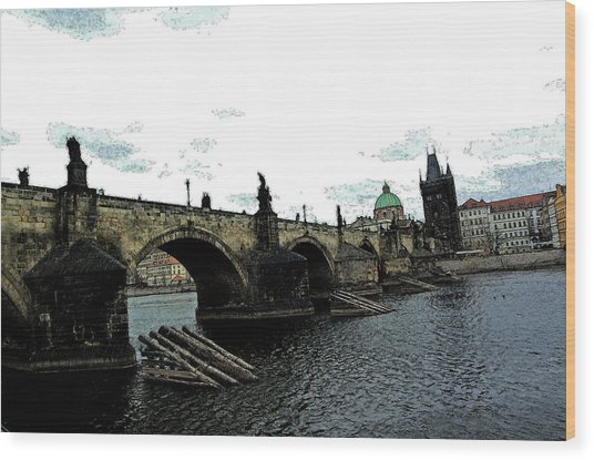 Charles Street Bridge In Prague Wood Print by Paul Pobiak