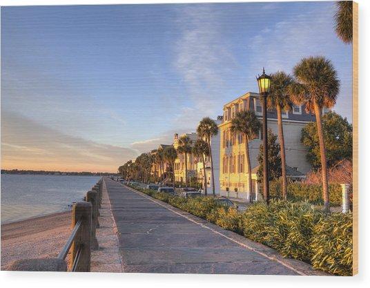 Charleston East Battery Row Sunrise Wood Print