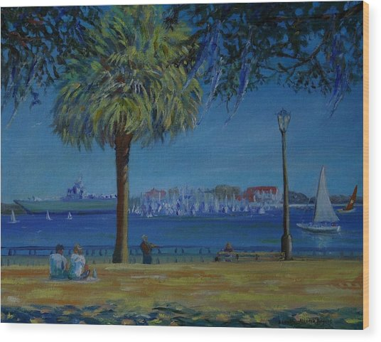 Charleston Harbor Sunday Regatta Wood Print