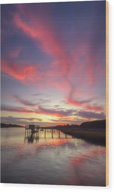 Charleston Lowcountry Sunset Wood Print