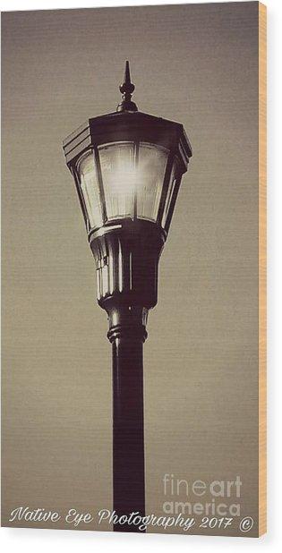 Charleston Morning Streetlight Wood Print