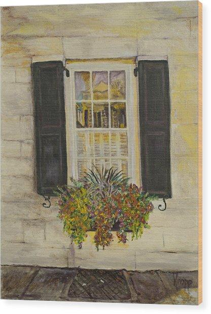 Charleston Window Wood Print