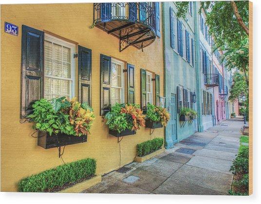 Charleston's Rainbow Row Wood Print by Drew Castelhano