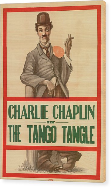 Charlie Chaplin In The Tango Tangle Wood Print