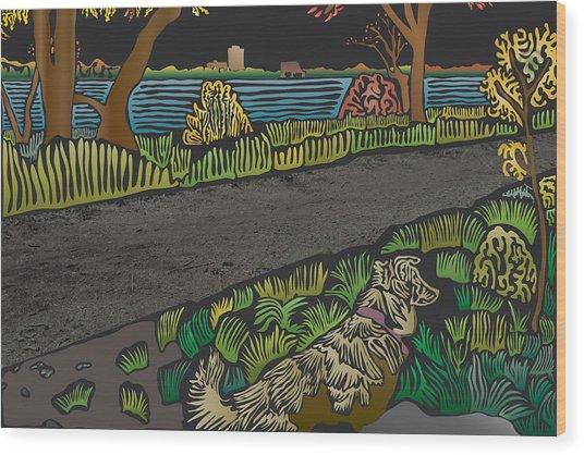Charlie On Path Wood Print