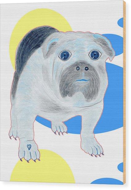 Charlie The Bulldog Wood Print by Tess M J Iroldi