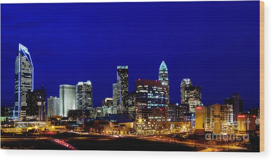 Charlotte Nc Skyline At Dusk Wood Print by Patrick Schneider