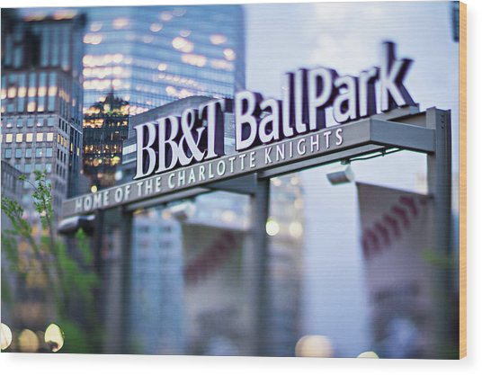 Charlotte Nc Usa  Bbt Baseball Park Sign  Wood Print