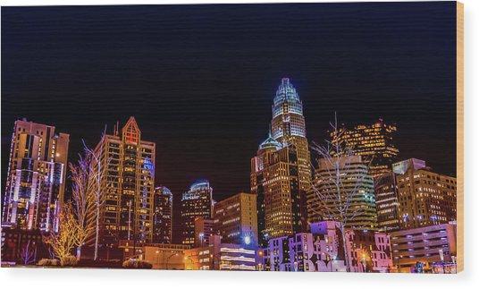 Charlotte Skyline At Night Wood Print