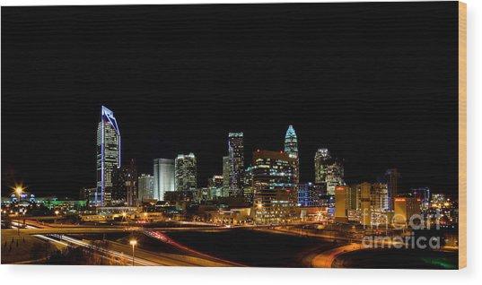 Charlotte Skyline Panoramic Wood Print by Patrick Schneider