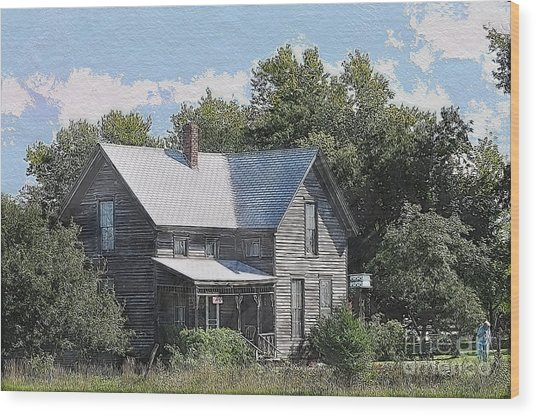 Charming Country Home Wood Print