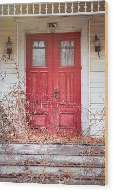 Charming Old Red Doors Portrait Wood Print