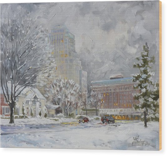 Chase Park Plaza In Winter, St.louis Wood Print